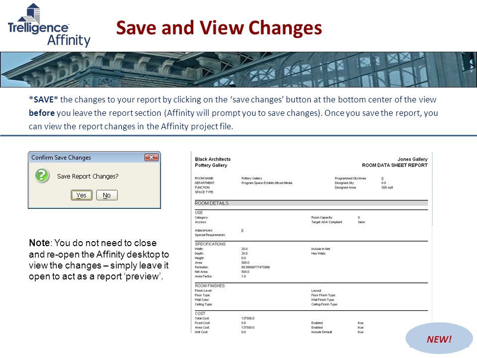 Save and View Changes © 2009 Trelligence, Inc.Trelligence Affinity v. 5.639 *SAVE* the changes to your report by clicking on the save changes button a
