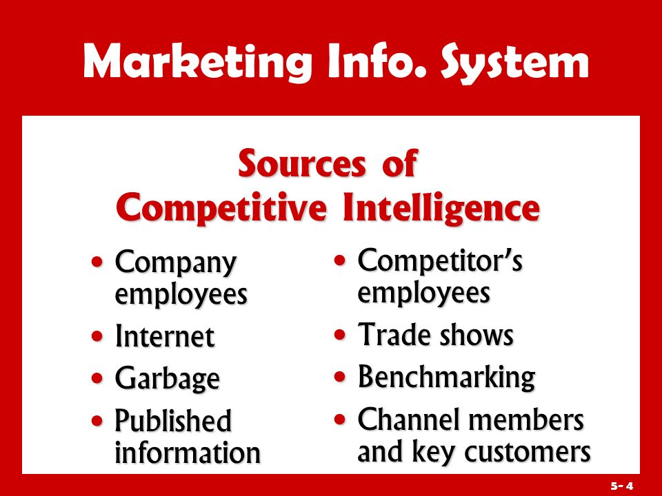 5- 3 Marketing Info. System Marketing intelligence is the systematic collection and analysis of publicly available information about competitors and t