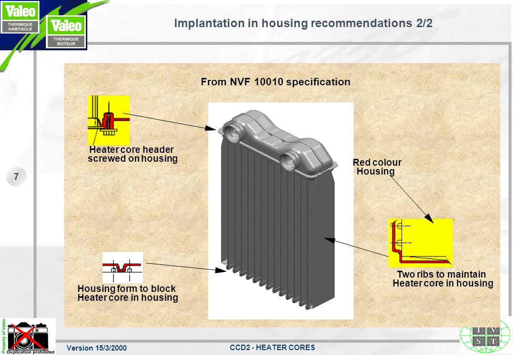 Version 15/3/2000 CCD2 - HEATER CORES 7 Implantation in housing recommendations 2/2 Heater core header screwed on housing Housing form to block Heater core in housing Two ribs to maintain Heater core in housing Red colour Housing From NVF specification