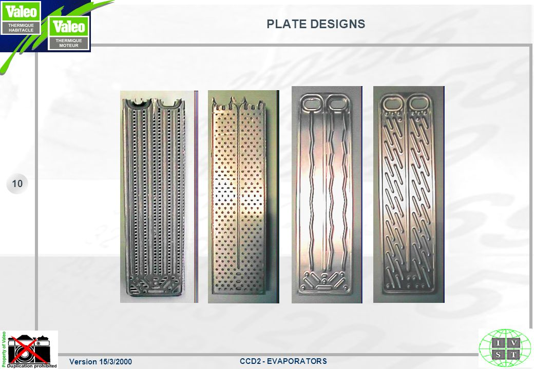 Version 15/3/2000 CCD2 - EVAPORATORS 10 PLATE DESIGNS