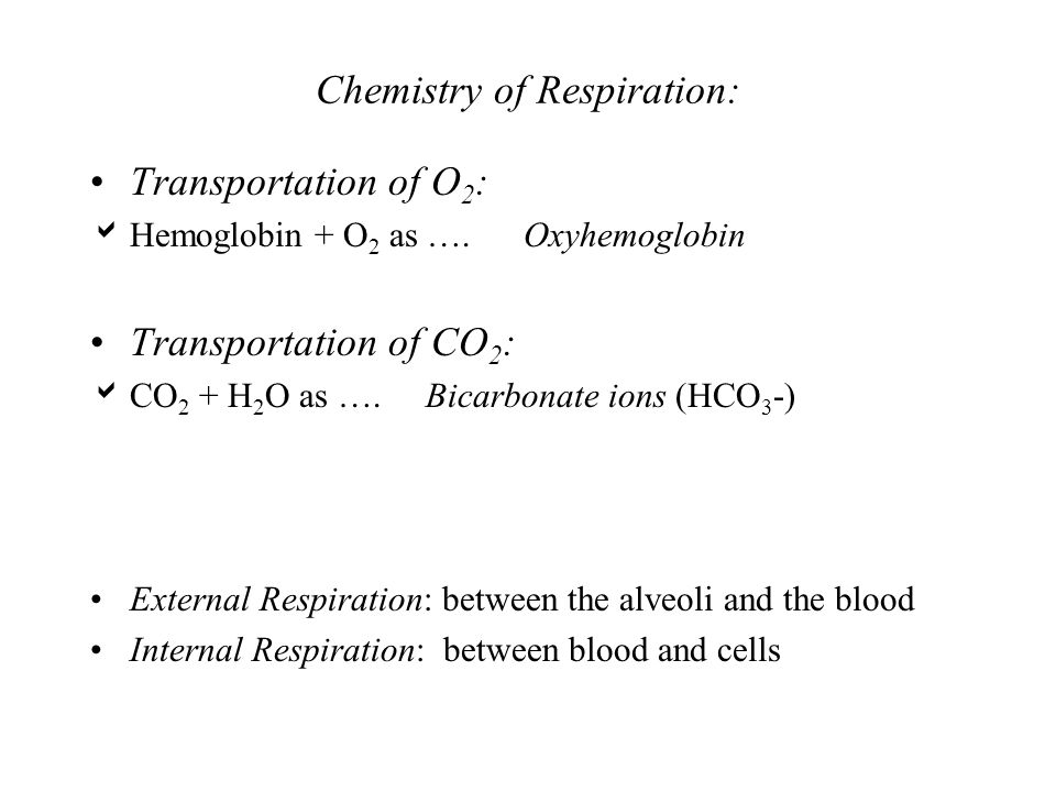 Chemistry of Respiration: Transportation of O 2 : Hemoglobin + O 2 as …. Oxyhemoglobin Transportation of CO 2 : CO 2 + H 2 O as …. Bicarbonate ions (H
