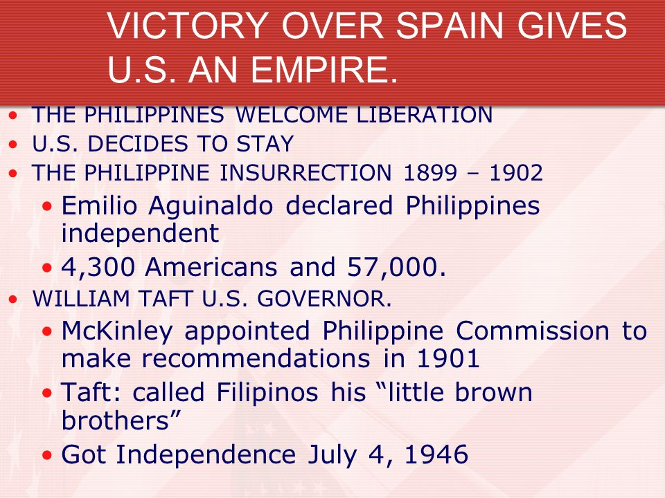 VICTORY OVER SPAIN GIVES U.S. AN EMPIRE. THE PHILIPPINES WELCOME LIBERATION U.S. DECIDES TO STAY THE PHILIPPINE INSURRECTION 1899 – 1902 Emilio Aguina