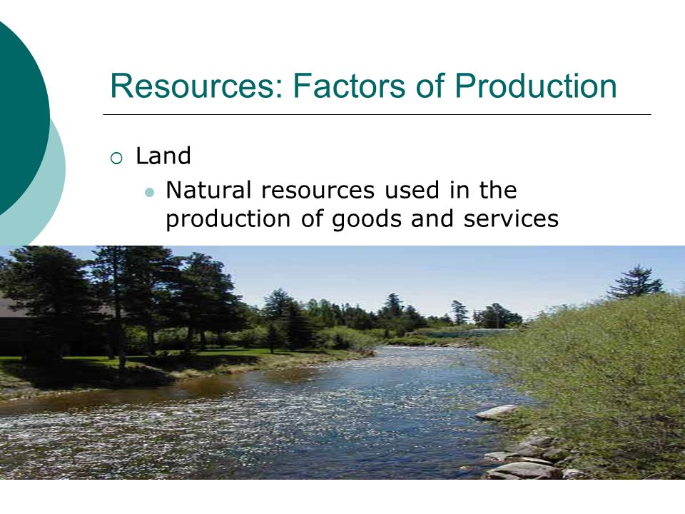 Resources: Factors of Production Land Natural resources used in the production of goods and services