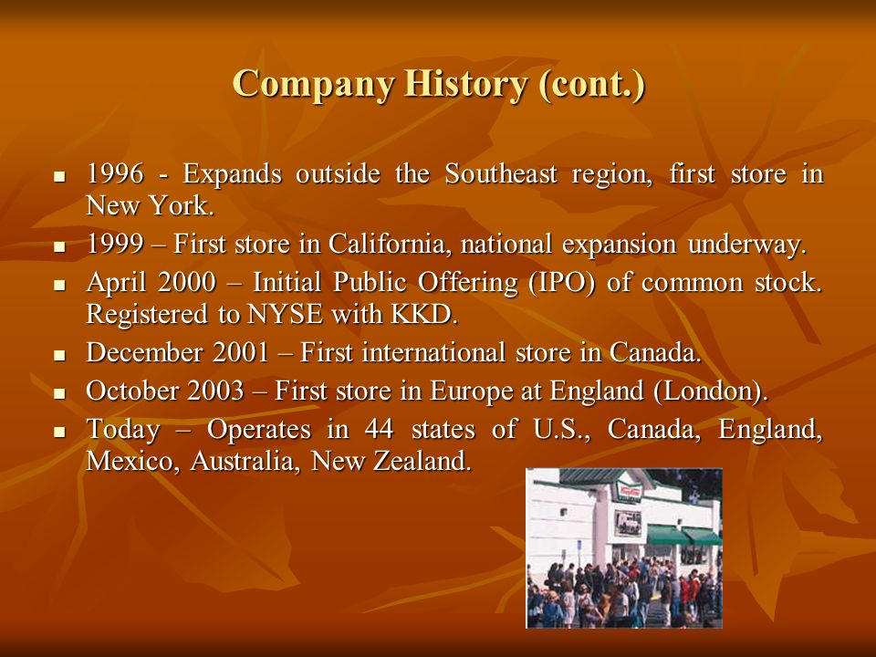 Company History (cont.) 1996 - Expands outside the Southeast region, first store in New York. 1996 - Expands outside the Southeast region, first store