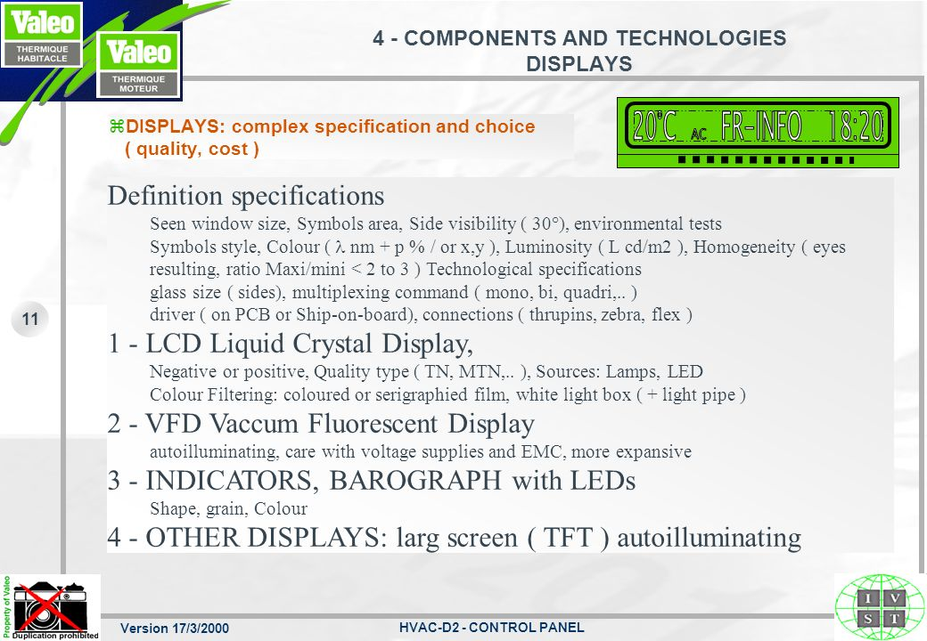 Version 17/3/2000 HVAC-D2 - CONTROL PANEL 11 4 - COMPONENTS AND TECHNOLOGIES DISPLAYS zDISPLAYS: complex specification and choice ( quality, cost ) De