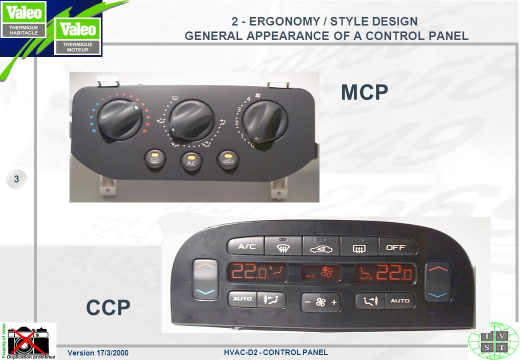 Version 17/3/2000 HVAC-D2 - CONTROL PANEL 3 2 - ERGONOMY / STYLE DESIGN GENERAL APPEARANCE OF A CONTROL PANEL MCP CCP