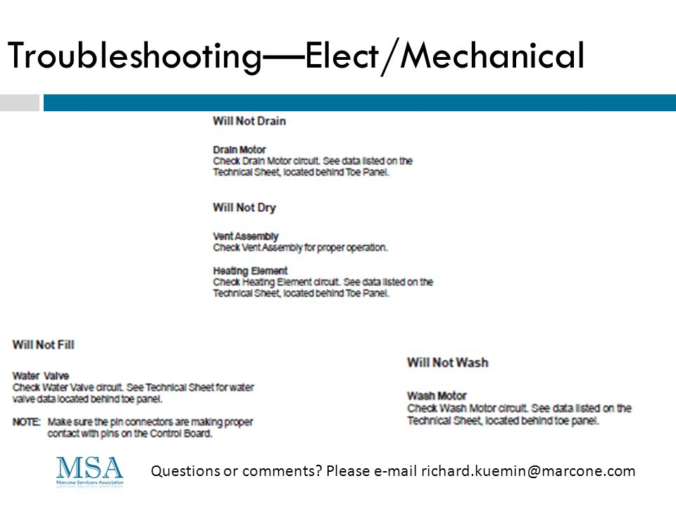 TroubleshootingElect/Mechanical Questions or comments? Please e-mail richard.kuemin@marcone.com