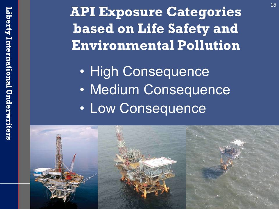 Liberty International Underwriters 16 API Exposure Categories based on Life Safety and Environmental Pollution High Consequence Medium Consequence Low