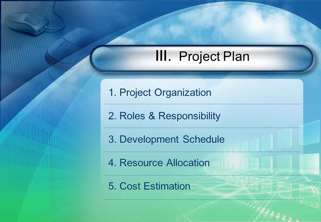 . Project Plan 1.Project Organization 2.Roles & Responsibility 3.Development Schedule 4.Resource Allocation 5.Cost Estimation 1.Project Organization 2.Roles & Responsibility 3.Development Schedule 4.Resource Allocation 5.Cost Estimation