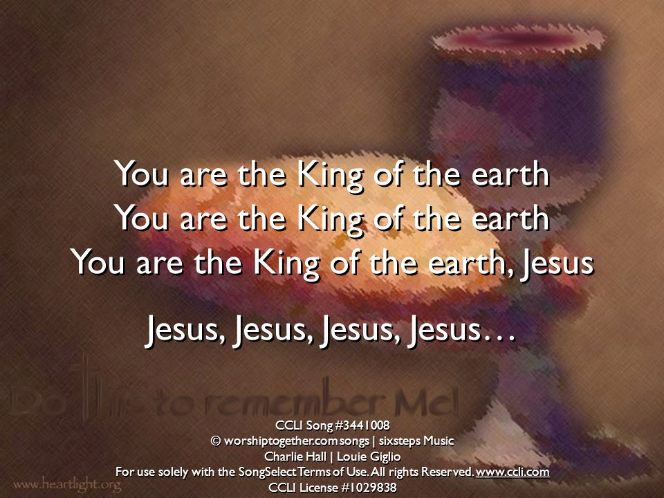 You are the King of the earth You are the King of the earth, Jesus Jesus, Jesus, Jesus, Jesus… You are the King of the earth You are the King of the e