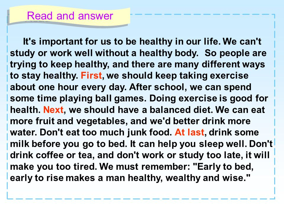 It's important for us to be healthy in our life. We can't study or work well without a healthy body. So people are trying to keep healthy, and there a