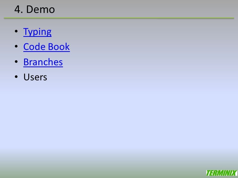 4. Demo Typing Code Book Branches Users