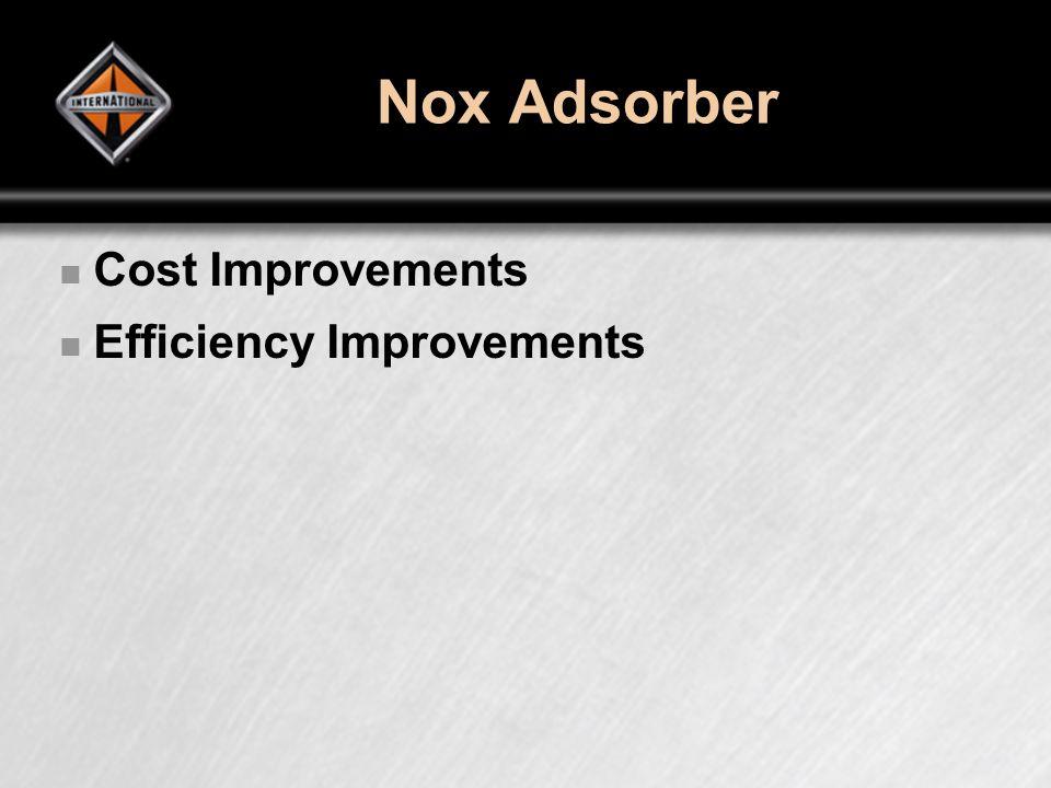 Nox Adsorber Cost Improvements Efficiency Improvements