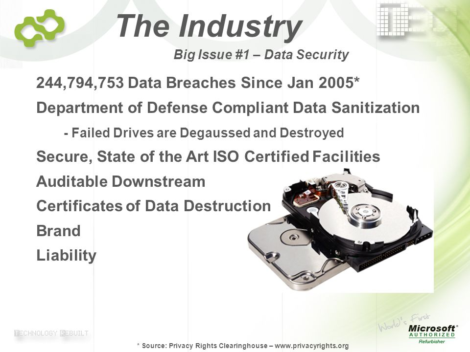 © 2007 TechTurn Page 4 Big Issue #1 – Data Security 244,794,753 Data Breaches Since Jan 2005* Department of Defense Compliant Data Sanitization - Failed Drives are Degaussed and Destroyed Secure, State of the Art ISO Certified Facilities Auditable Downstream Certificates of Data Destruction Brand Liability * Source: Privacy Rights Clearinghouse – www.privacyrights.org The Industry