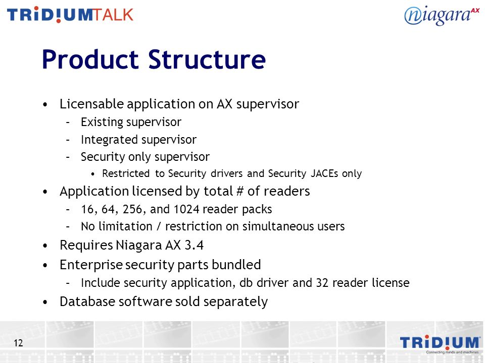 12 Product Structure Licensable application on AX supervisor –Existing supervisor –Integrated supervisor –Security only supervisor Restricted to Secur