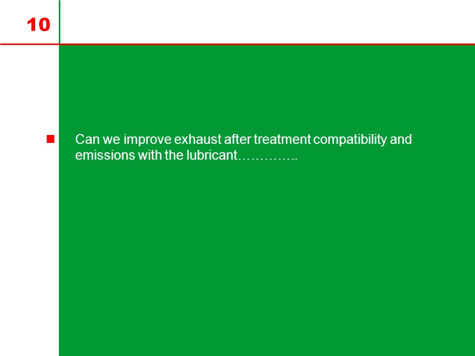 10 Can we improve exhaust after treatment compatibility and emissions with the lubricant…………..
