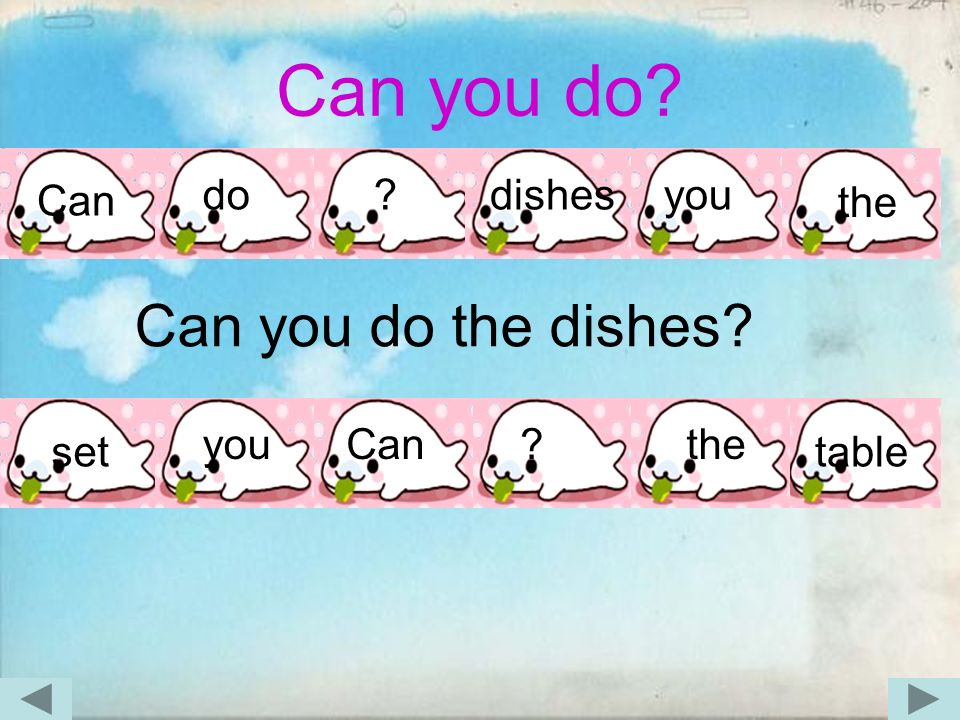 Can you do? Can do ?dishesyou the Can you do the dishes? set youCan?the table