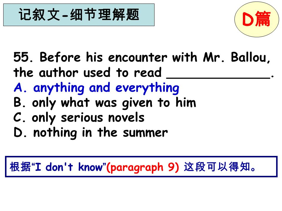 I don't know (paragraph 9) 55. Before his encounter with Mr. Ballou, the author used to read _____________. A. anything and everything B. only what wa