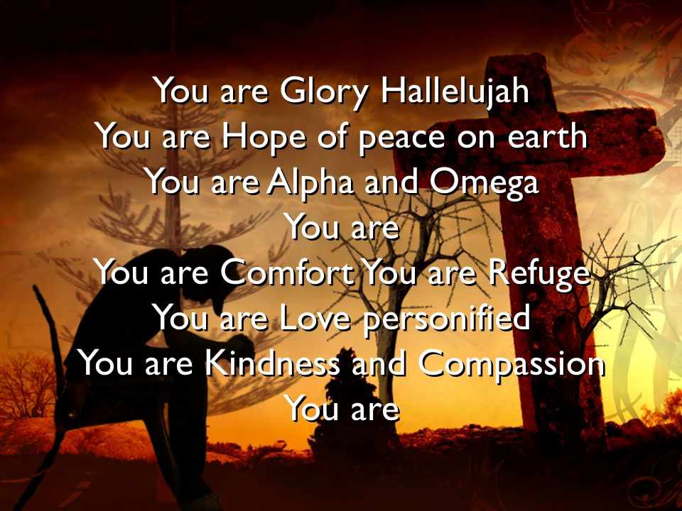 You are Glory Hallelujah You are Hope of peace on earth You are Alpha and Omega You are You are Comfort You are Refuge You are Love personified You ar