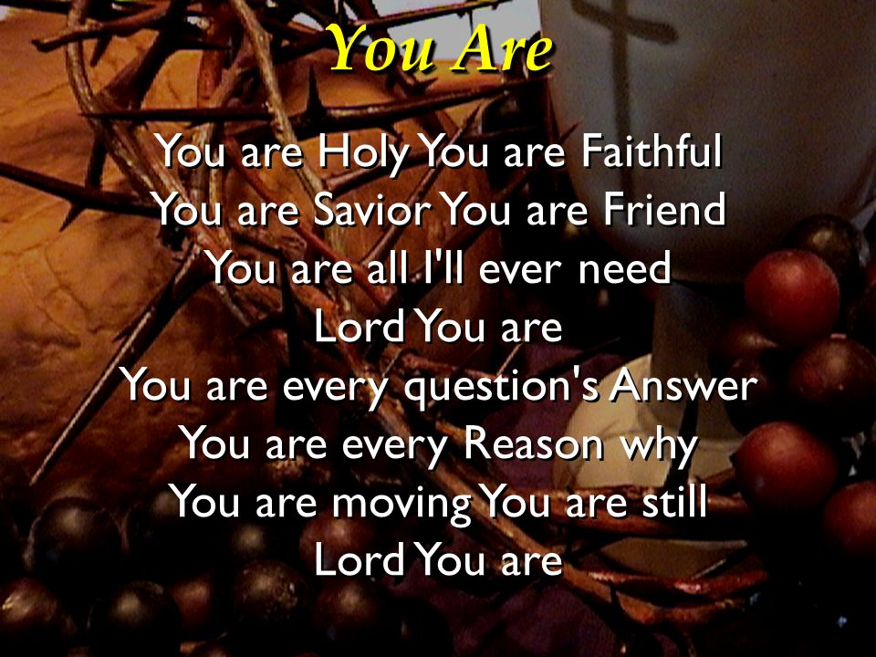 You Are You are Holy You are Faithful You are Savior You are Friend You are all I'll ever need Lord You are You are every question's Answer You are ev