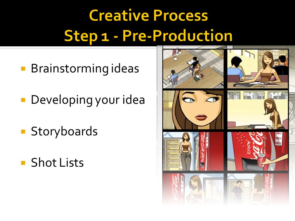 Brainstorming ideas Developing your idea Storyboards Shot Lists