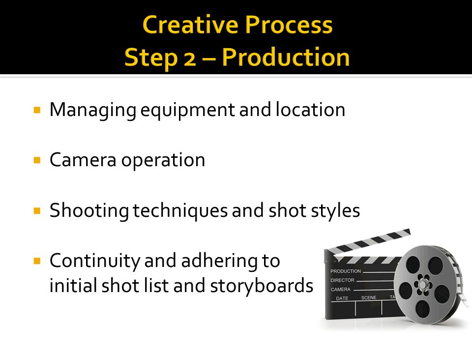 Managing equipment and location Camera operation Shooting techniques and shot styles Continuity and adhering to initial shot list and storyboards