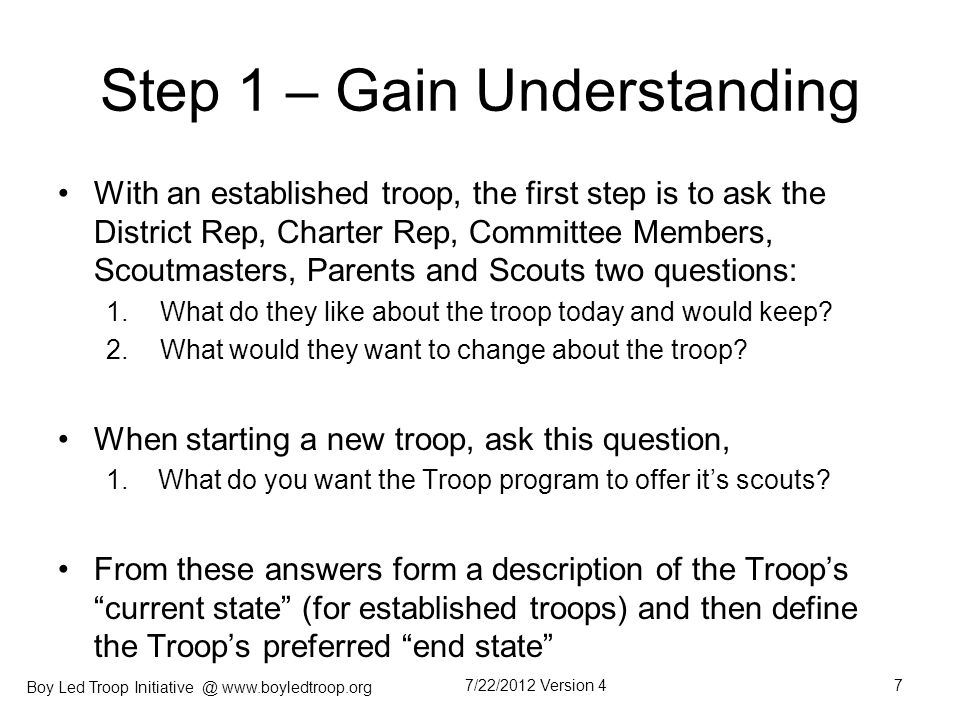 Boy Led Troop Initiative @ www.boyledtroop.org Step 9 – Present BLT to the Troop It is now time to present the BLT Leadership System to the troop.
