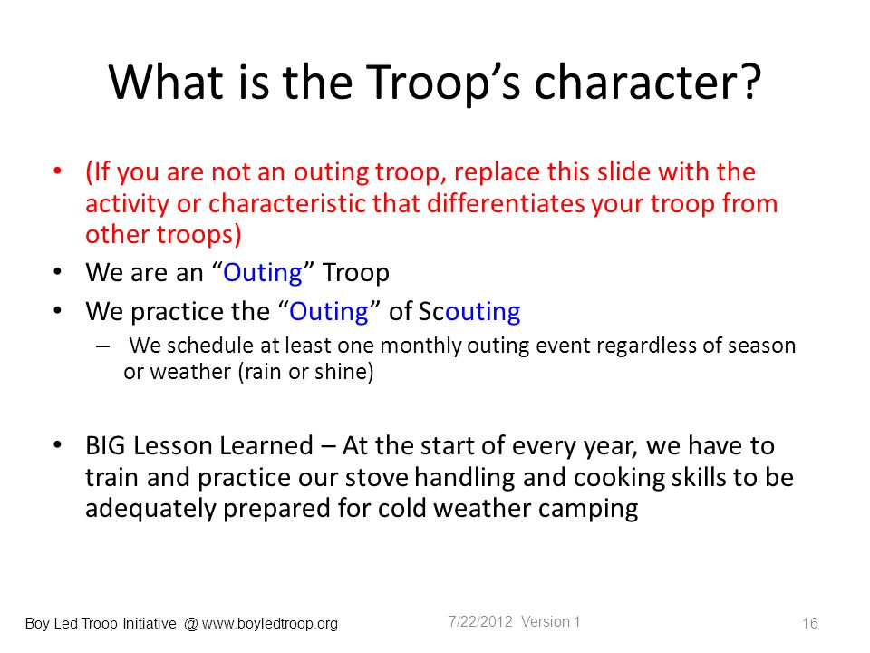 Boy Led Troop Initiative @ www.boyledtroop.org What is the Troops character.