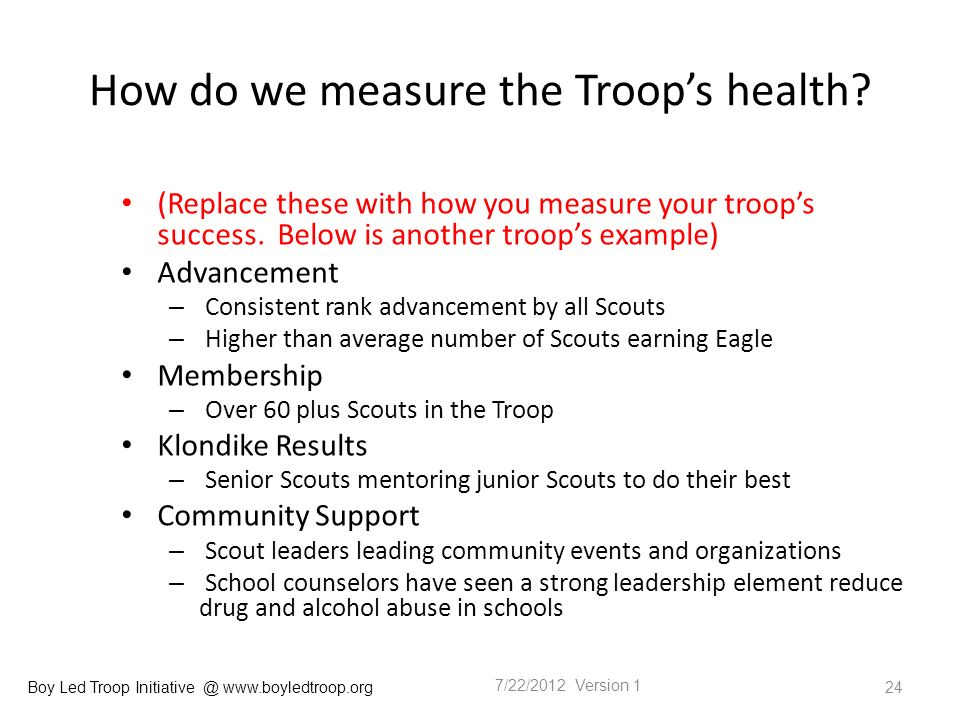 Boy Led Troop Initiative @ www.boyledtroop.org How do we measure the Troops health.