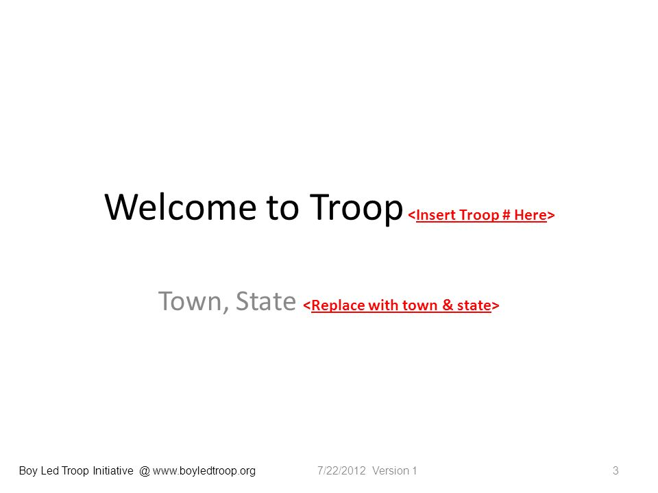 Boy Led Troop Initiative @ www.boyledtroop.org Welcome to Troop Town, State 37/22/2012 Version 1