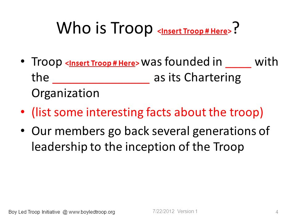 Boy Led Troop Initiative @ www.boyledtroop.org Who is Troop .