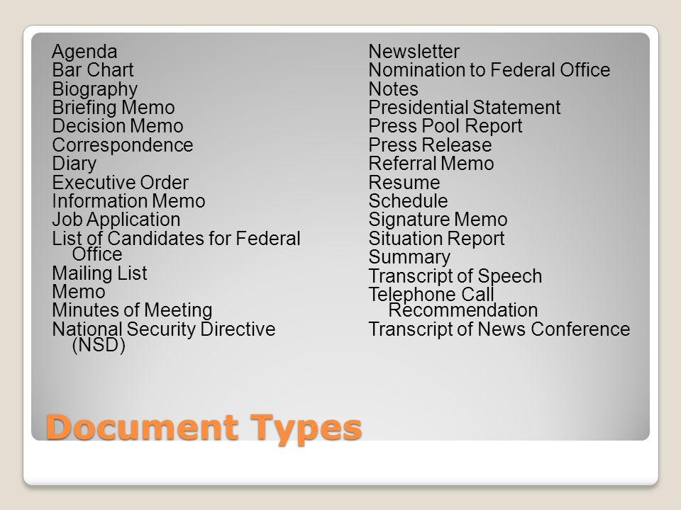 Document Types Agenda Bar Chart Biography Briefing Memo Decision Memo Correspondence Diary Executive Order Information Memo Job Application List of Ca