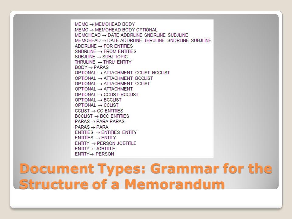 Document Types: Grammar for the Structure of a Memorandum