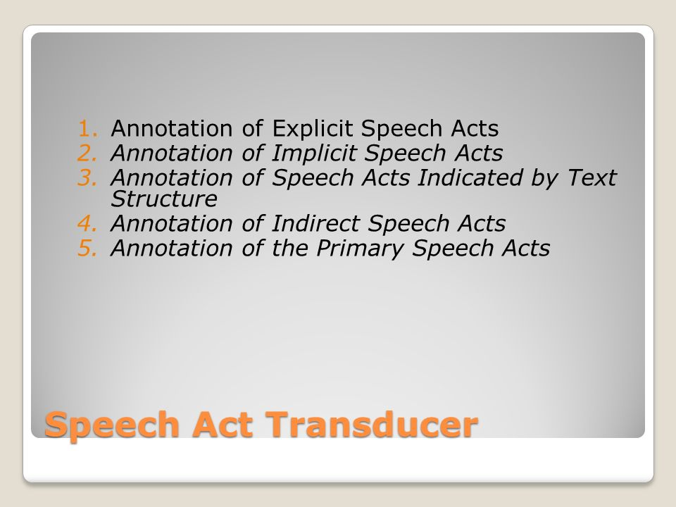Speech Act Transducer 1.Annotation of Explicit Speech Acts 2.Annotation of Implicit Speech Acts 3.Annotation of Speech Acts Indicated by Text Structur
