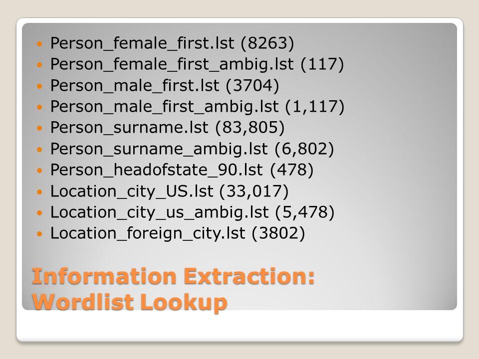 Information Extraction: Wordlist Lookup Person_female_first.lst (8263) Person_female_first_ambig.lst (117) Person_male_first.lst (3704) Person_male_fi