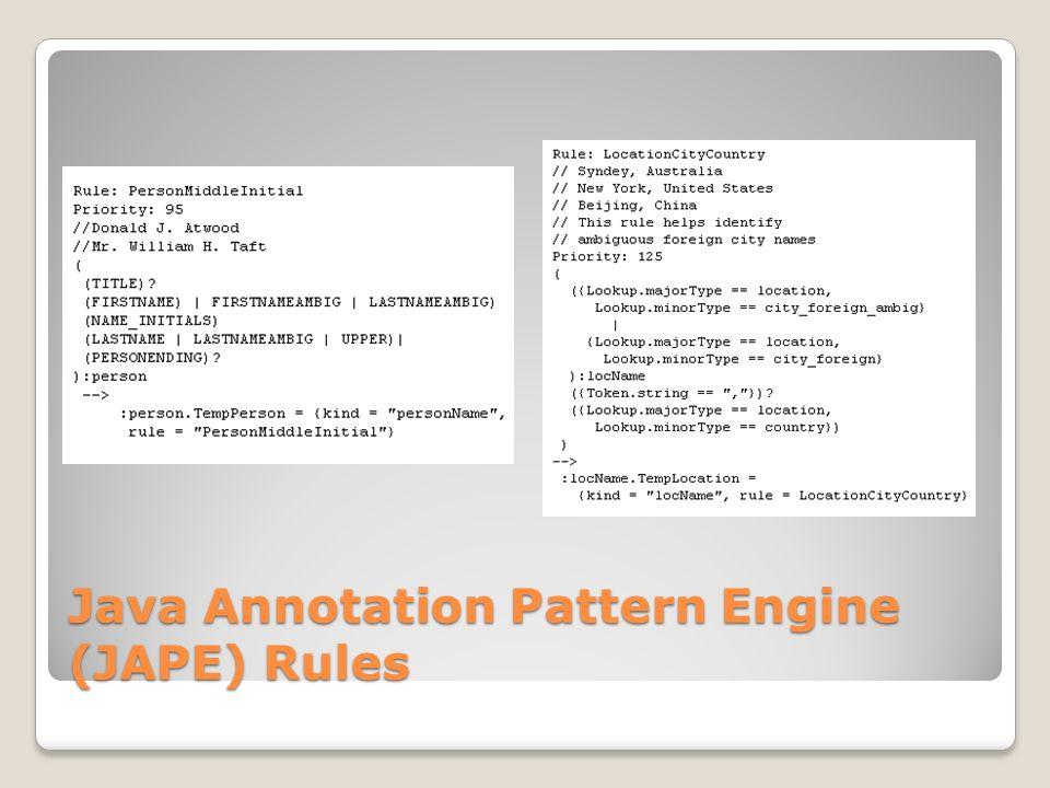 Java Annotation Pattern Engine (JAPE) Rules