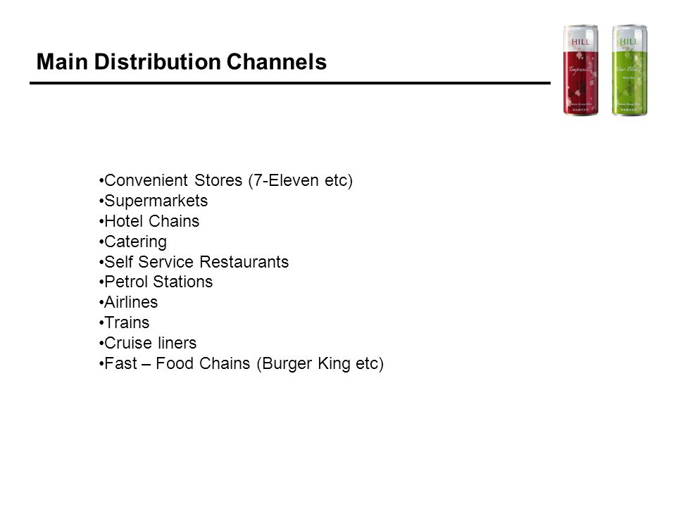Main Distribution Channels Convenient Stores (7-Eleven etc) Supermarkets Hotel Chains Catering Self Service Restaurants Petrol Stations Airlines Train