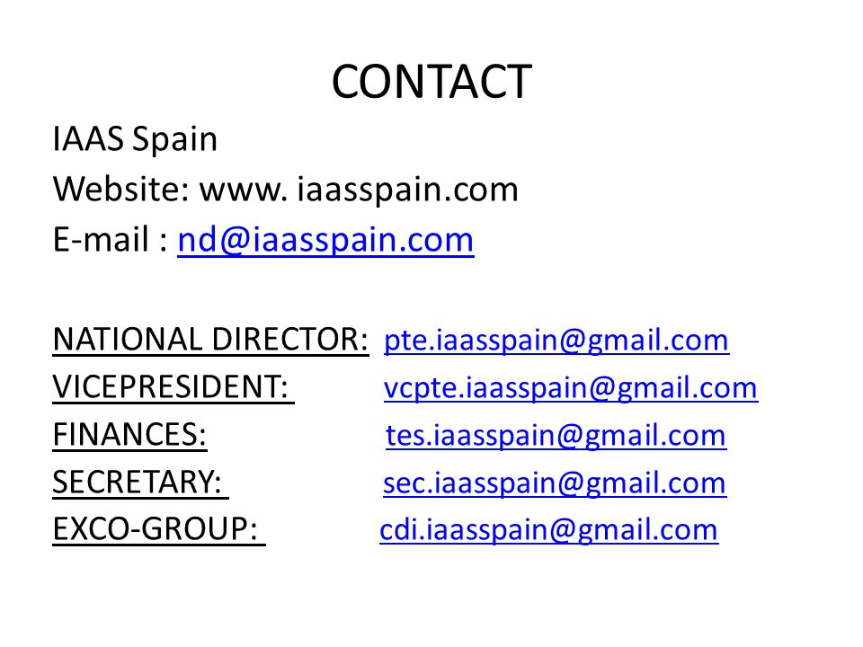 CONTACT IAAS Spain Website: www.