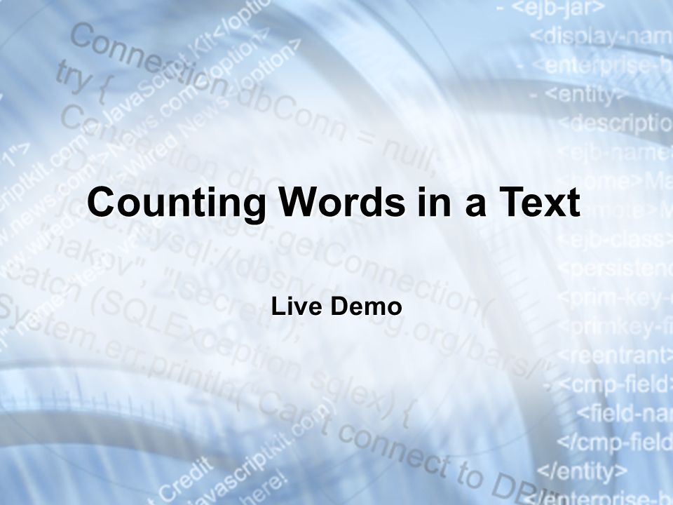 Counting Words in a Text Live Demo