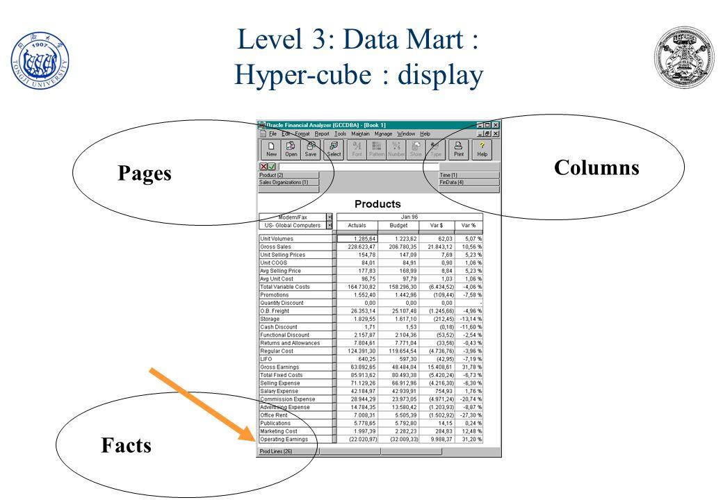 Level 3: Data Mart : Hyper-cube : logic An hypercube is a matrix of tables A Fact (e.g.
