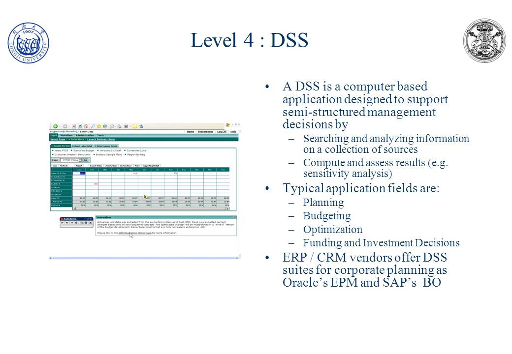 Level 4 : DSS : an example (budgeting) The control system produces monthly a financial report and a report with physical performance indicators (KPI) Financial report and KPI report are on 5 dimensions: 1.Time 2.Cost centers 3.Item 4.Sales channel 5.Activity Sales data come from the Sales systems and are stored in a data mart; the same approach is also for sales budget, actual costs and budget costs Data marts are merged in two hyper-cubes, respectively KPI and Financial.