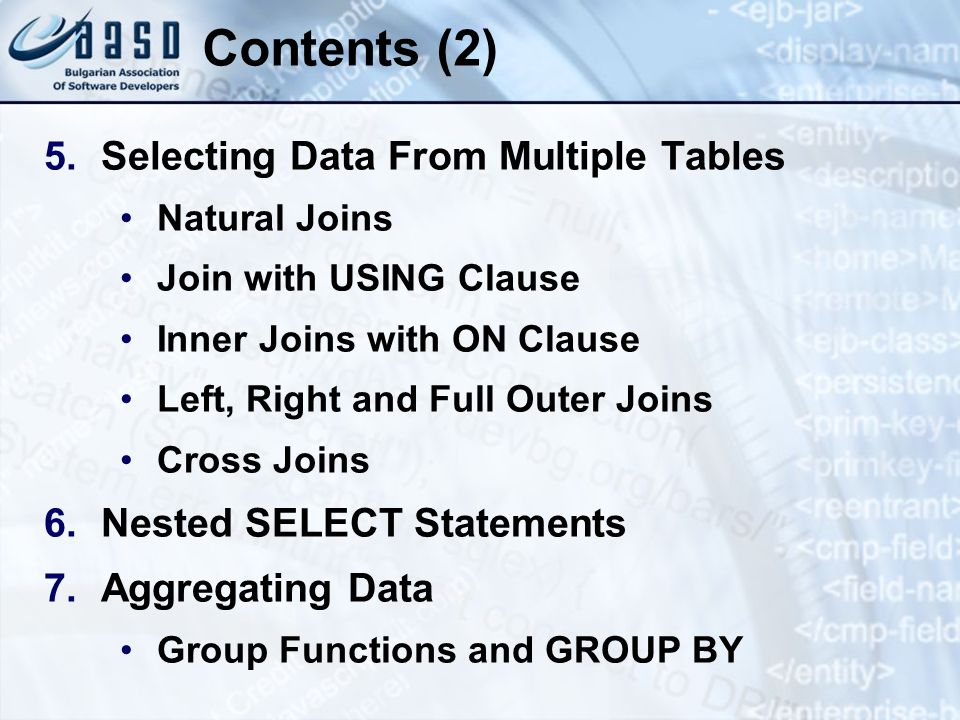 SQL Language Deleting Data from the Tables