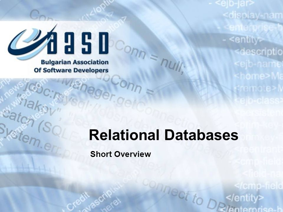 Relational Databases Short Overview