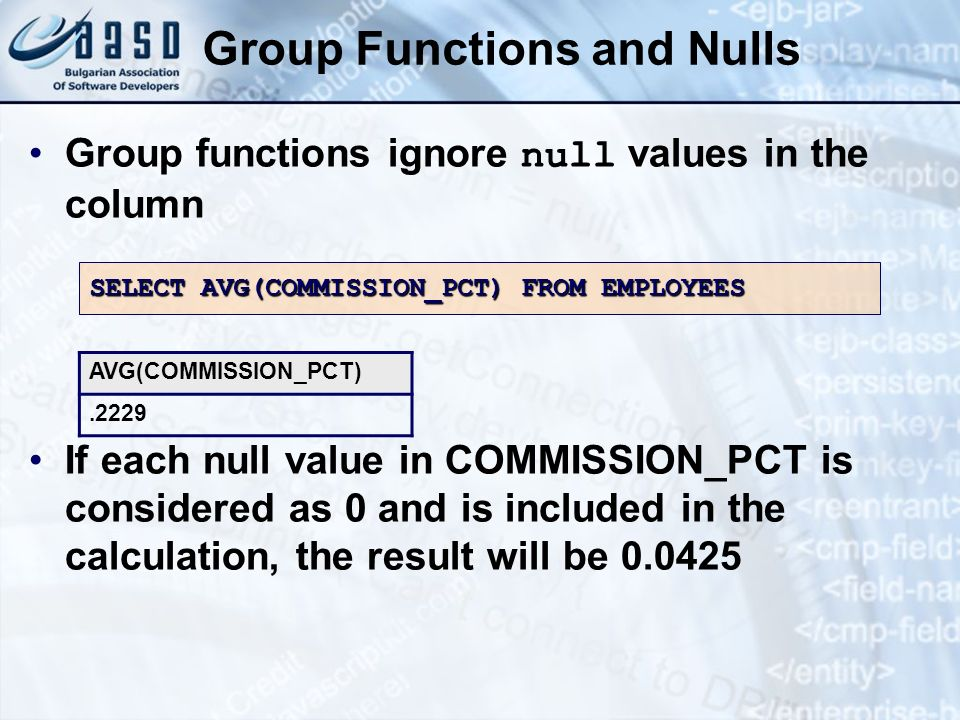 Group Functions and Nulls Group functions ignore null values in the column If each null value in COMMISSION_PCT is considered as 0 and is included in