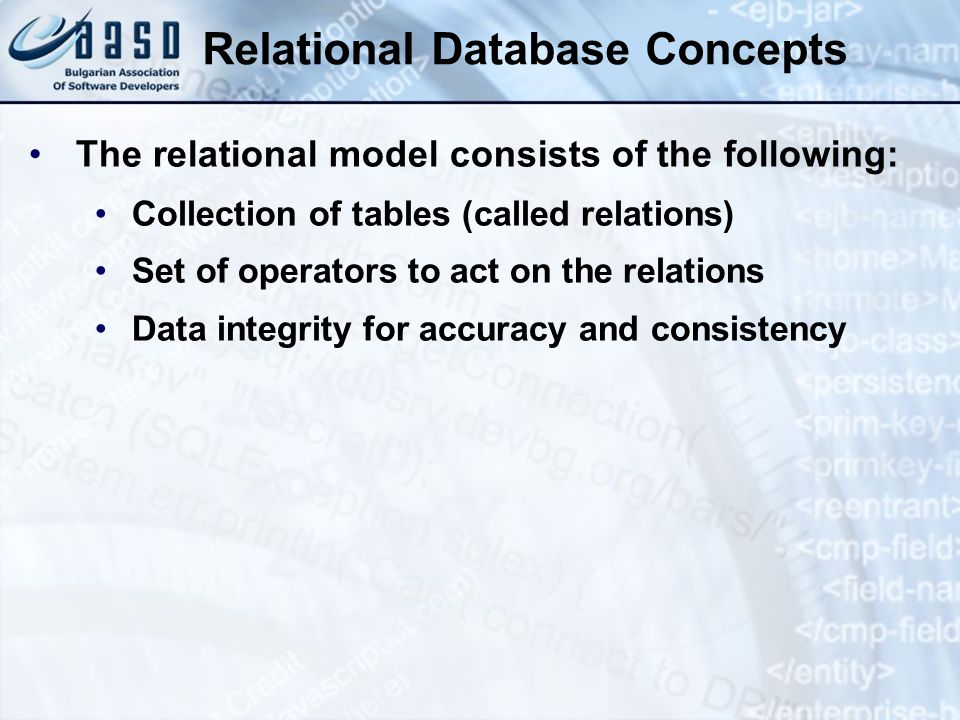 Definition of a Database A relational database is a collection of relations (two-dimensional tables) Database Table Name: EMPLOYEES Table Name: DEPARTMENTS EMPLO YEE_ID FIRST_ NAME LAST_NAMEEMAIL 100SvetlinNakovXXX 101RosenSpasovYYY 102DanailAlexievZZZ DEPARTM ENT_ID DEPARTMENT_ NAME MANAGER_ID 10IT200 20Sales201 50Finances124