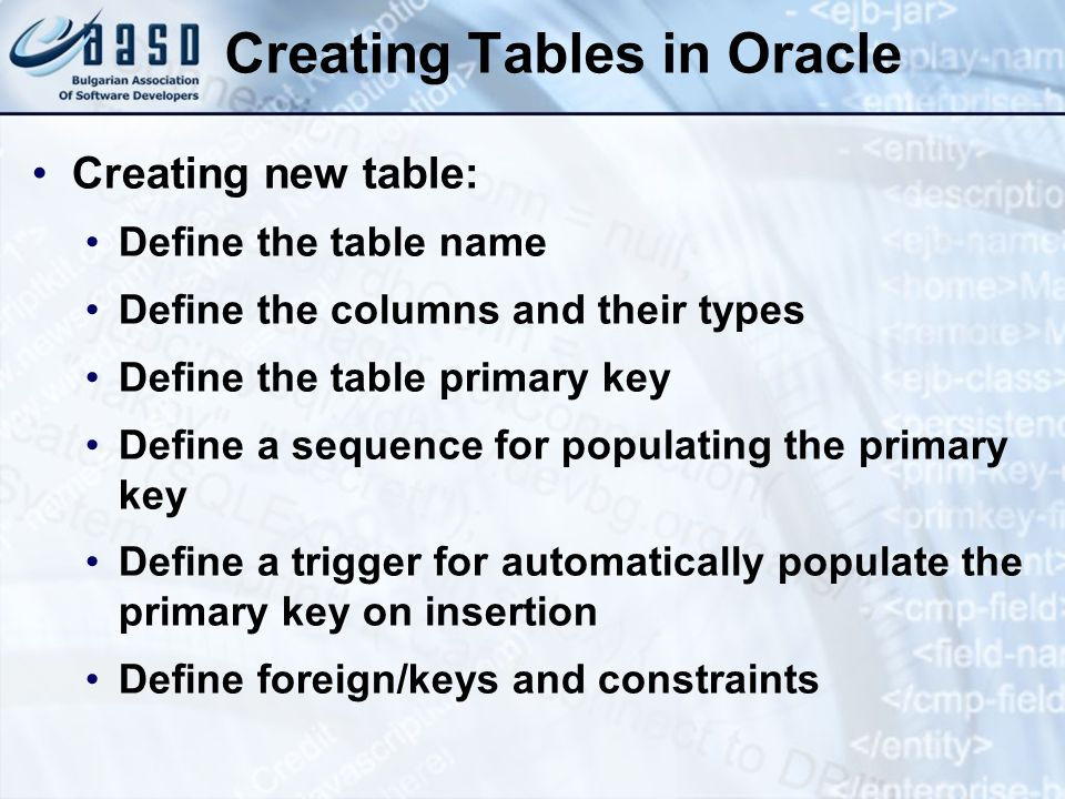 Creating Tables in Oracle Creating new table: Define the table name Define the columns and their types Define the table primary key Define a sequence