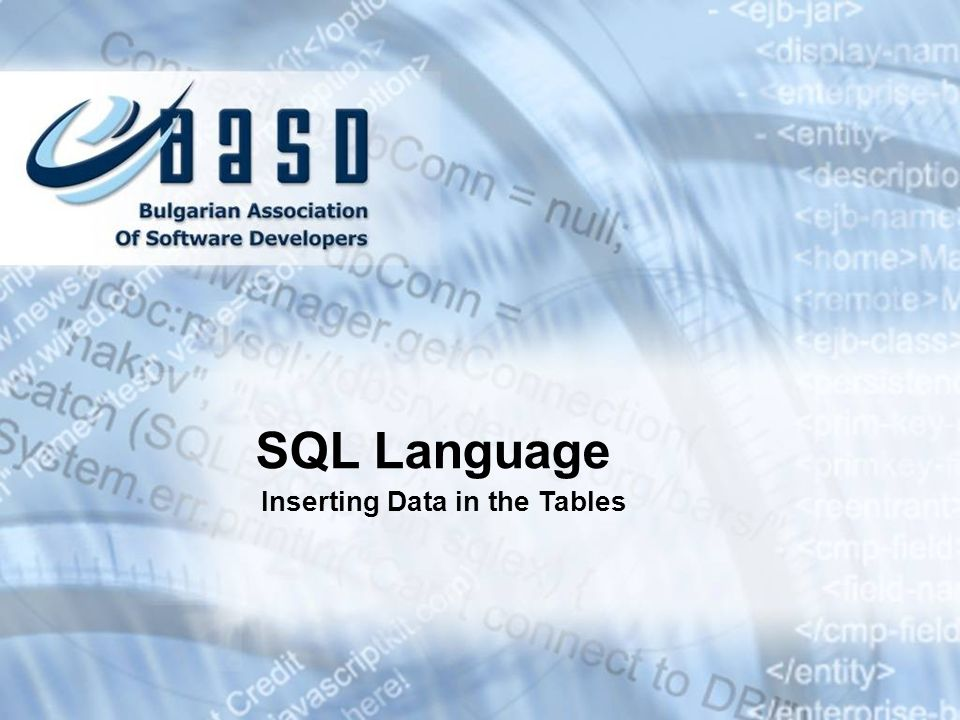 SQL Language Inserting Data in the Tables