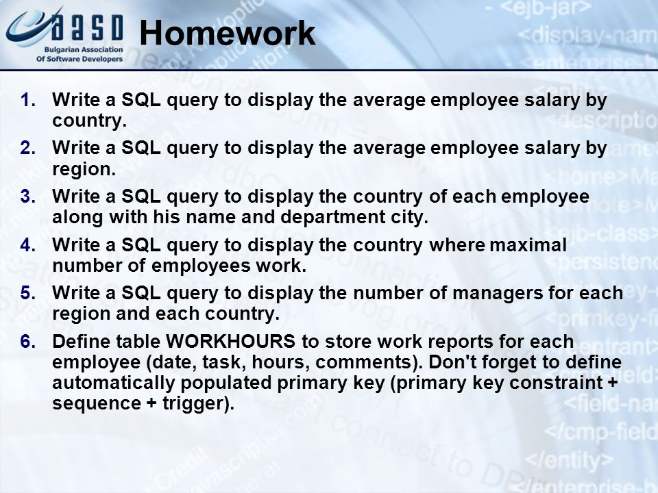 Homework 1.Write a SQL query to display the average employee salary by country. 2.Write a SQL query to display the average employee salary by region.