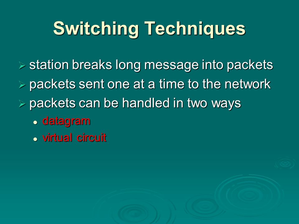 Switching Techniques station breaks long message into packets station breaks long message into packets packets sent one at a time to the network packets sent one at a time to the network packets can be handled in two ways packets can be handled in two ways datagram datagram virtual circuit virtual circuit