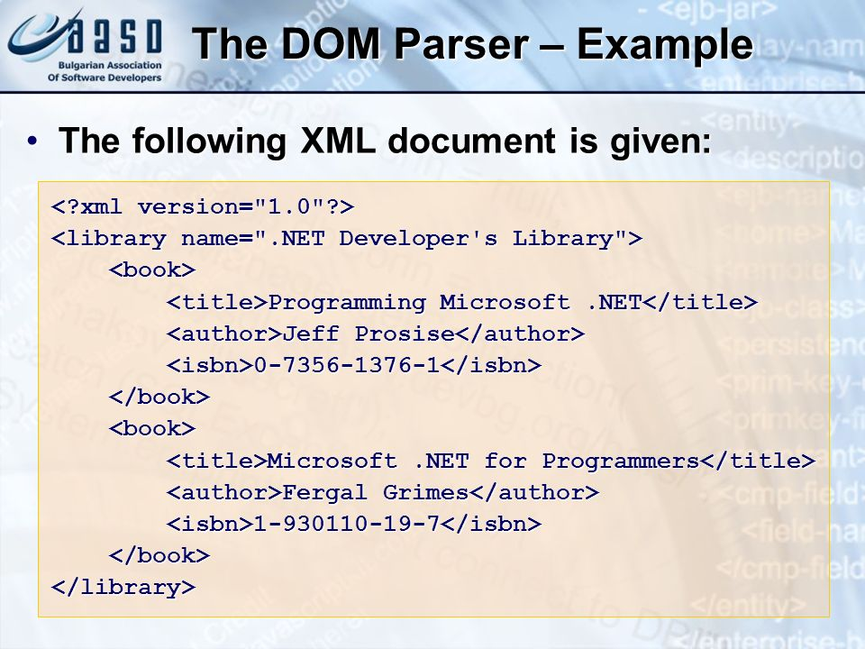 The DOM Parser – Example The following XML document is given:The following XML document is given: Programming Microsoft.NET Programming Microsoft.NET Jeff Prosise Jeff Prosise 0-7356-1376-1 0-7356-1376-1 Microsoft.NET for Programmers Microsoft.NET for Programmers Fergal Grimes Fergal Grimes 1-930110-19-7 1-930110-19-7 </library>